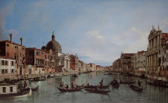 Canaletto, Der Canal Grande mit San Simeone Piccolo und der Chiesa degli Scalzi, um 1740. Foto: Manfred Heyde. Rechte: PD. Quelle: http://commons.wikimedia.org/wiki/File:Canaletto_Upper_Reaches.jpg.