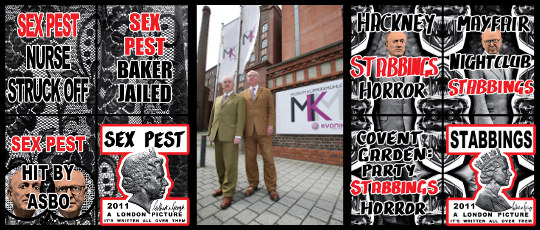 Gilbert & George, Sex Pest © Gilbert & George / Courtesy Galerie Thaddaeus Ropac Salzburg, Paris; Gilbert & George vor dem MKM Museum Küppersmühle für Moderne Kunst, Duisburg © MKM / Foto: Stephan Gatzen/BILD-Zeitung; Gilbert & George, Stabbings © Gilbert & George / Courtesy of the Artist and White Cube.