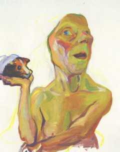 Maria Lassnig, Selbst mit Meerschweinchen, 2000. Öl auf Leinwand, 125 x 100 cm. Private Collection. Courtesy Hauser & Wirth. Foto: Stefan Altenburger, Photography Zürich