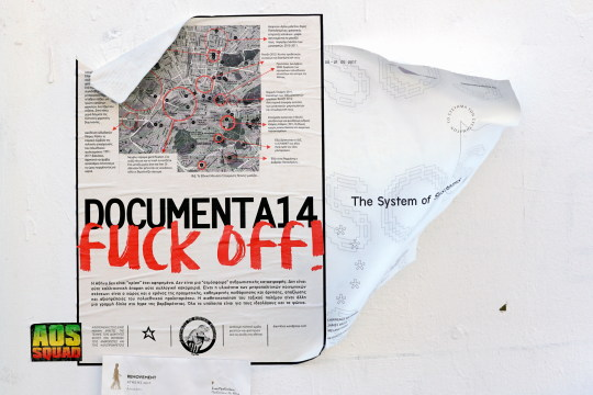"""documenta 14 fuck off!"" – Wandanschlag in Athen. Foto: jvf"