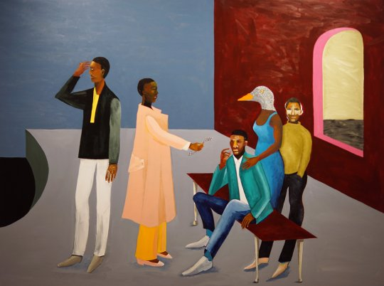 Lubaina Himid, Le Rodeur: The Exchange, 2016. Acrylic on canvas, 83x244cm. Turner Prize Exhibition 2017, Ferens Art Gallery, Hull. Foto: jvf
